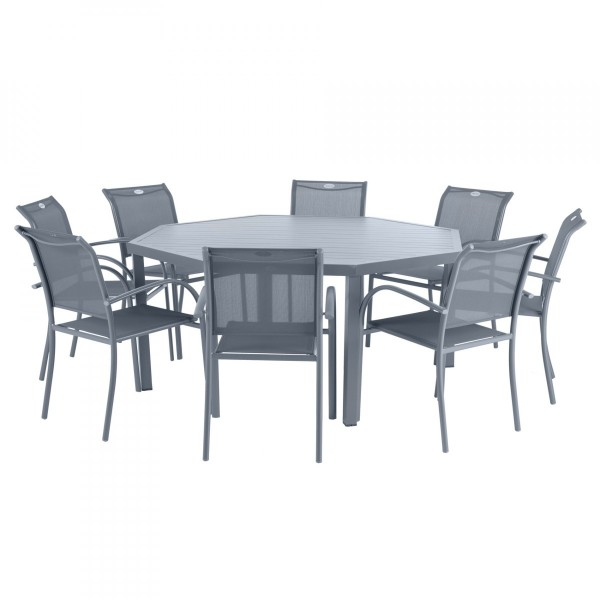 Table de jardin Aluminium Piazza octogonale - Gris ardoise - Salon ...