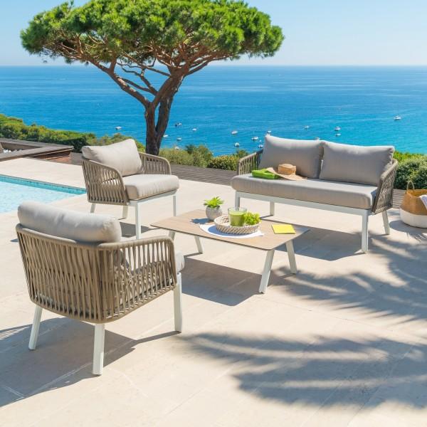 canap de jardin 2 places barcelone blanc salon de jardin table et chaise eminza