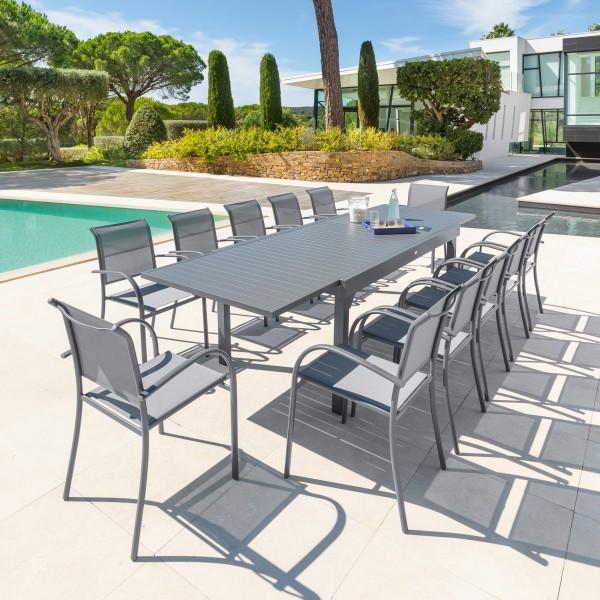 Table de jardin extensible piazza aluminium 320 x 100 cm gris ardoise salon de jardin - Table jardin aluminium extensible ...