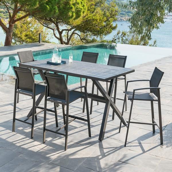 Table Haute Aluminium Axiome Gris Graphite