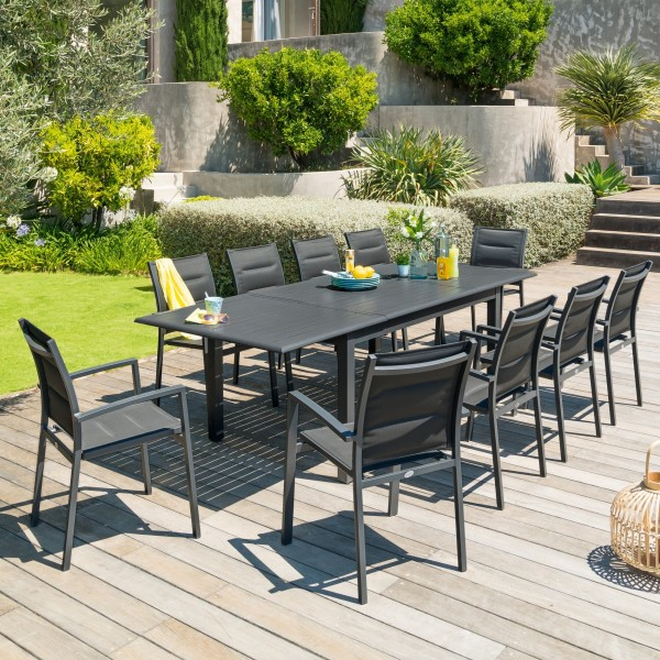 Table de jardin extensible Aluminium Azua (254 x 100 cm) - Gris ...