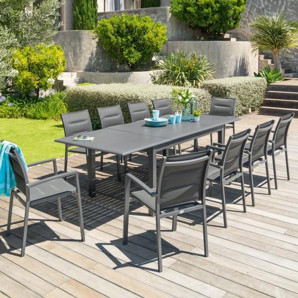 Table de jardin extensible Aluminium Azua (254 x 100 cm) - Gris ...