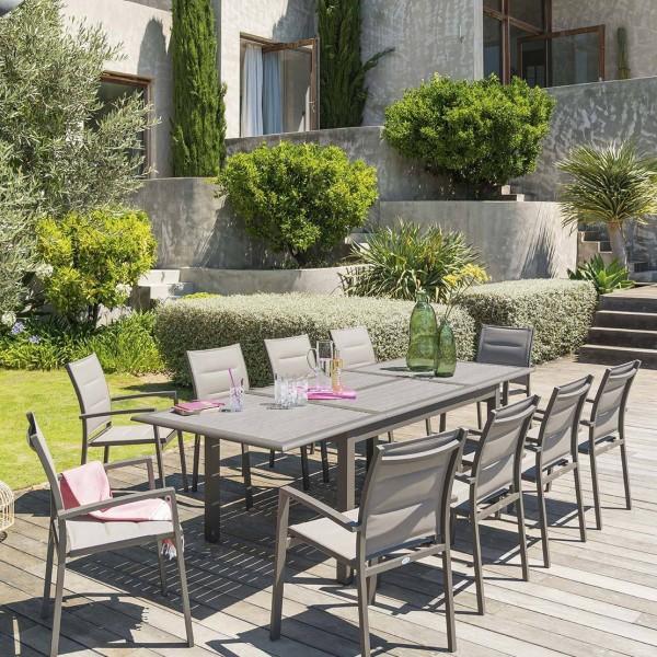 Table de jardin extensible Aluminium Azua (254 x 100 cm) - Taupe ...