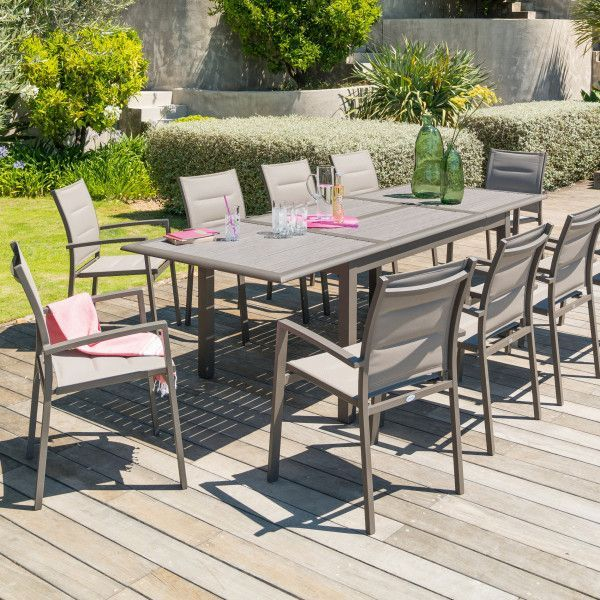 Table de jardin extensible Azua Expresso & Tonka 10 places