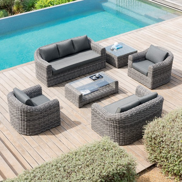 Canapé de jardin 3 places Moorea - Gris terre d\'ombre
