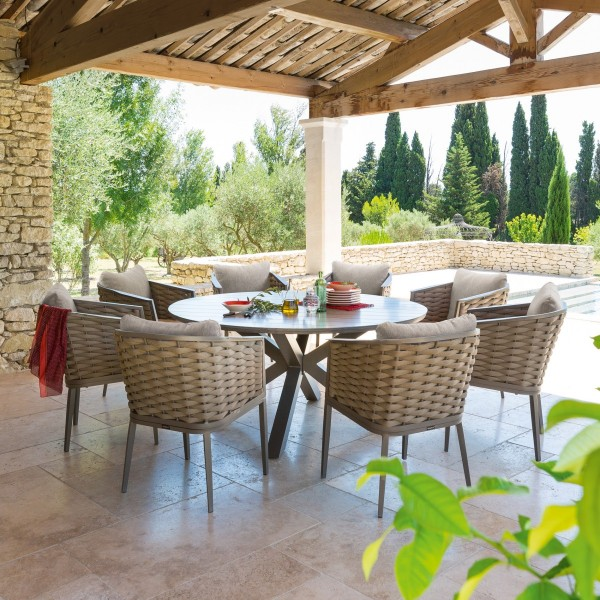 Table de jardin ronde aluminium Embruns - Noisette - Salon de jardin ...