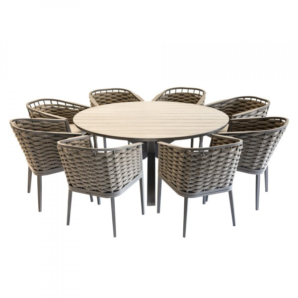 Table de jardin ronde aluminium Embruns - Noisette