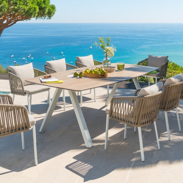 Table de jardin HPL Barcelone (232 x 110 cm) - Blanc - Salon de ...