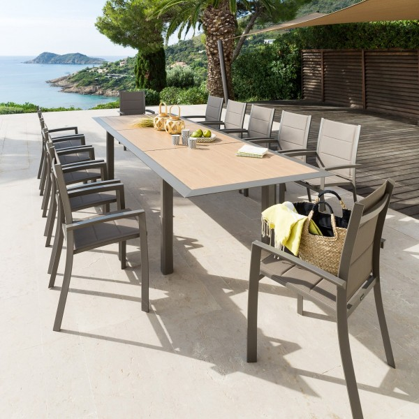 Table de jardin extensible Aluminium Allure (254 x 115 cm) - Honey/Taupe  praline