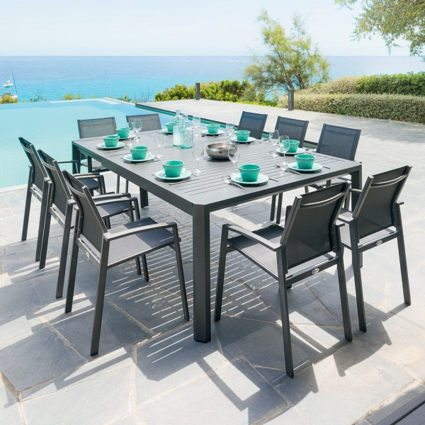 Table de jardin extensible aluminium Seville - Gris graphite