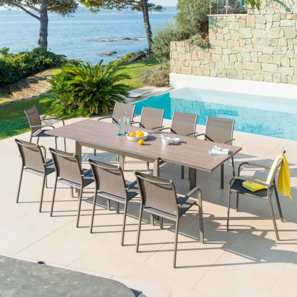 Table de jardin extensible HPL Evasion (280 x 109 cm) - Marron tonka/Chêne
