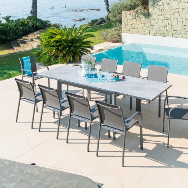 Table de jardin extensible HPL Evasion (280 x 109 cm) - Gris ...