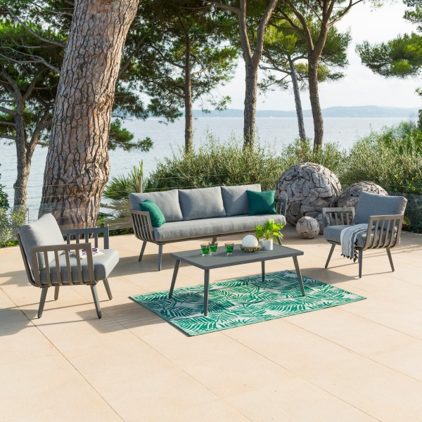 Salon de jardin Paradize Gris graphite- 5 places - Salon de jardin ...