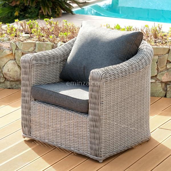 Fauteuil de jardin Calvi - Gris - Salon de jardin, table et chaise ...