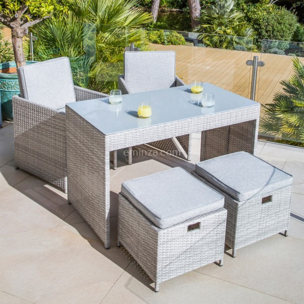Salon pour balcon Menorca Gris   4 places   Salon de jardin, table