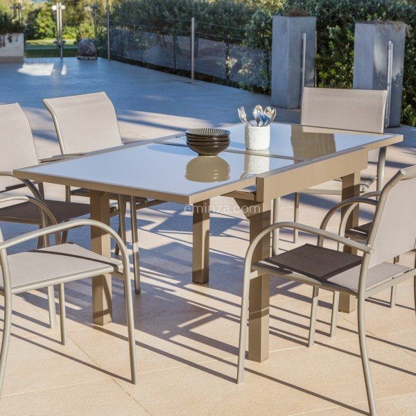 Table de jardin extensible en verre (180 x 90 cm) - Taupe - Salon de ...