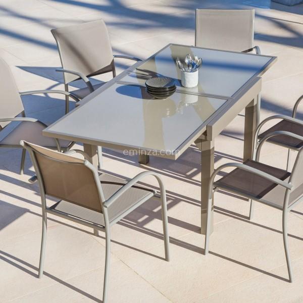 Table de jardin extensible en verre (180 x 90 cm) - Taupe - Salon de ...