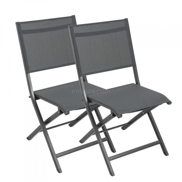 Lot de 2 chaises alu pliantes Brevia Ardoise
