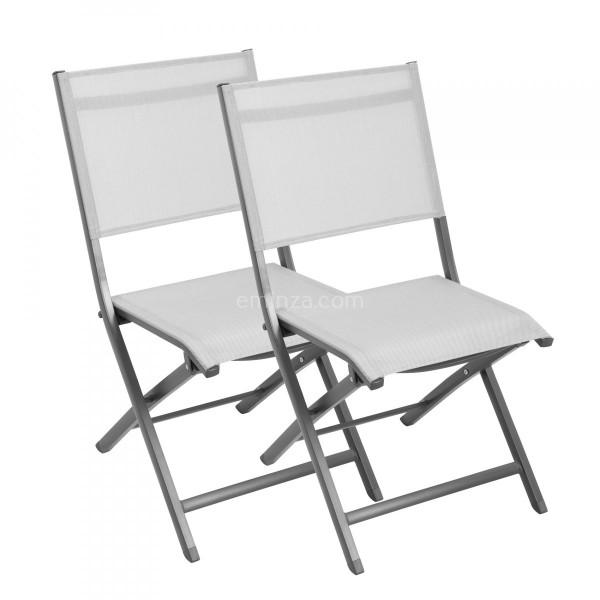 Lot de 2 chaises alu pliantes Brevia Gris clair