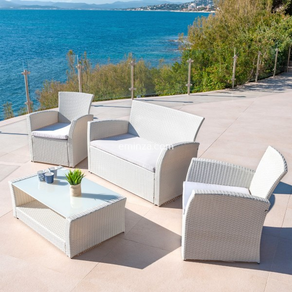 Salon de jardin San Remo Blanc/Gris clair - 4 places - Salon de ...