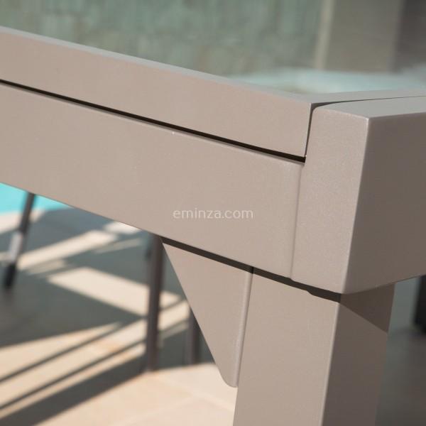 Table de jardin extensible en verre (270 x 90 cm) - Taupe