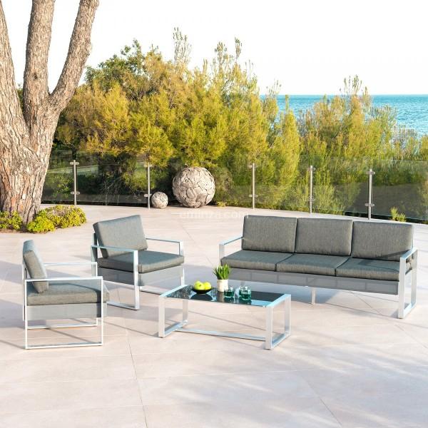 Salon de jardin Cancun Gris anthracite - 5 places