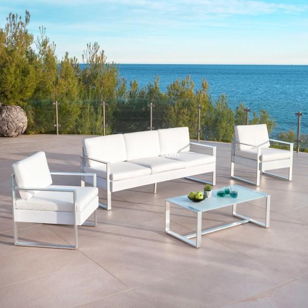 Salon de jardin Cancun Blanc - 5 places