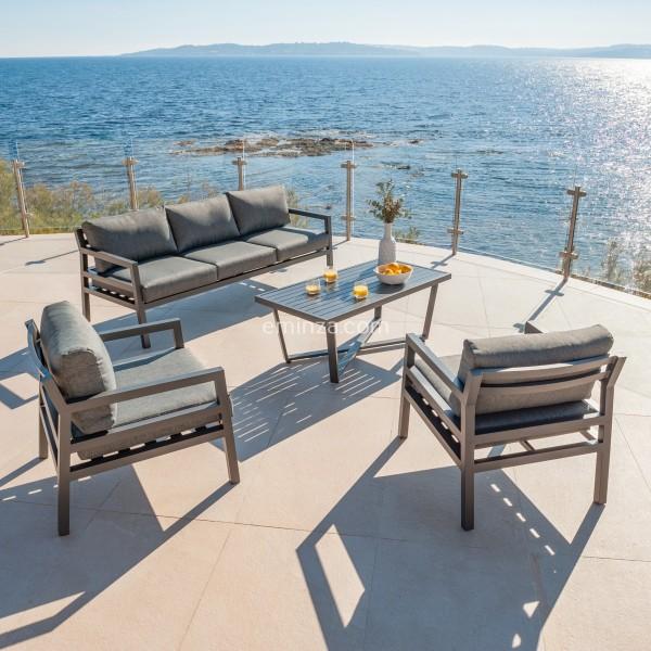 Salon de jardin mykonos anthracite 5 places salon de jardin table et chaise eminza - Chaise de jardin gris anthracite ...