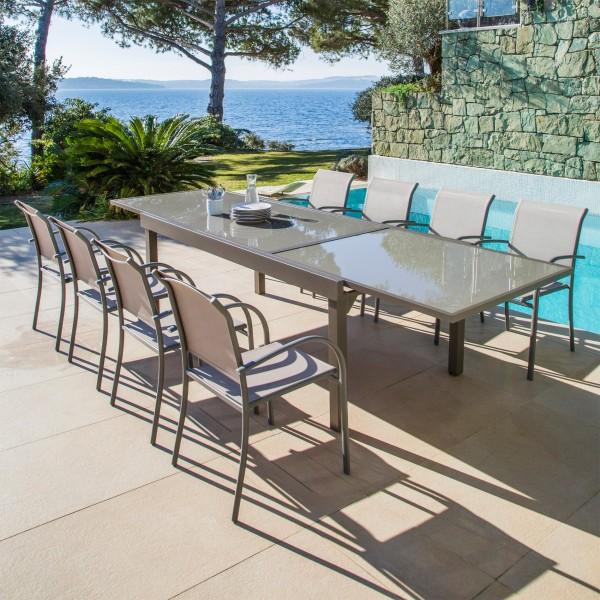 Table de jardin extensible en verre (320 x 90 cm) - Taupe - Salon de ...