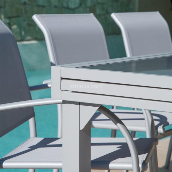 Table de jardin extensible en verre Murano (320 x 100 cm) - Silver