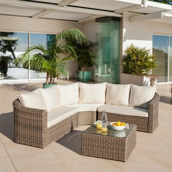 Salon de jardin d\'angle Calvi Sepia/Ecru - 5 places