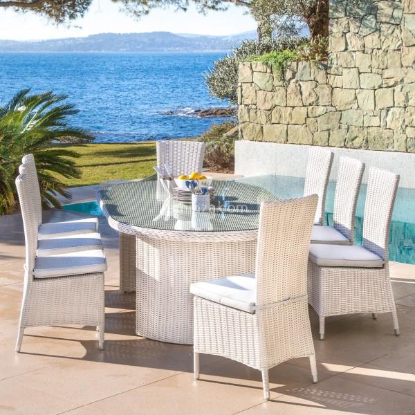 Table de jardin ovale Calvi - Blanc