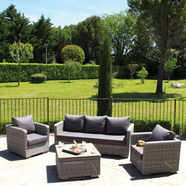 Salon de jardin Nawelle Gris chiné - 5 places