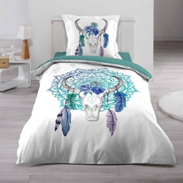 Housse de couette et une taie coton 140 cm toreo blanc - Housse de couette lit une place ...