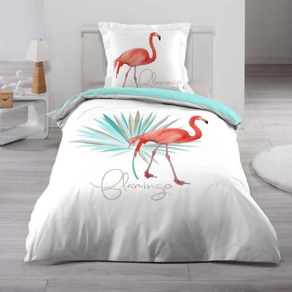 Housse de couette et une taie coton 140 cm flamingo - Housse de couette lit une place ...