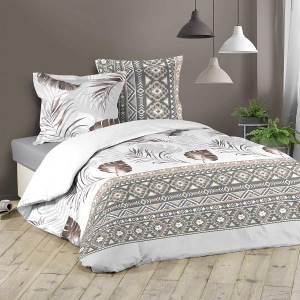 Bettwäsche Aus Baumwolle 200 Cm Madeon Weiß Taupe Bettwaren