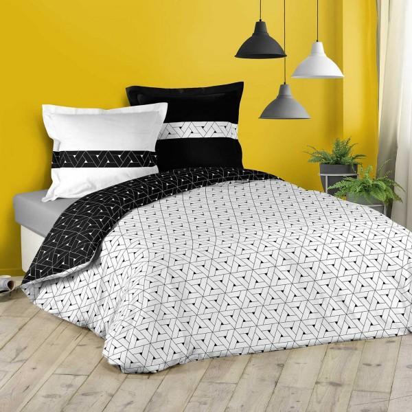 Bettwäsche Aus Baumwolle 240 Cm Cosmo Schwarz Weiß Bettwaren