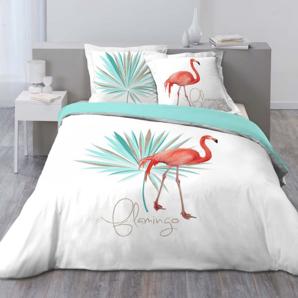 Bettwäsche Aus Baumwolle 200 Cm Flamingo Weiß Blau Bettwaren