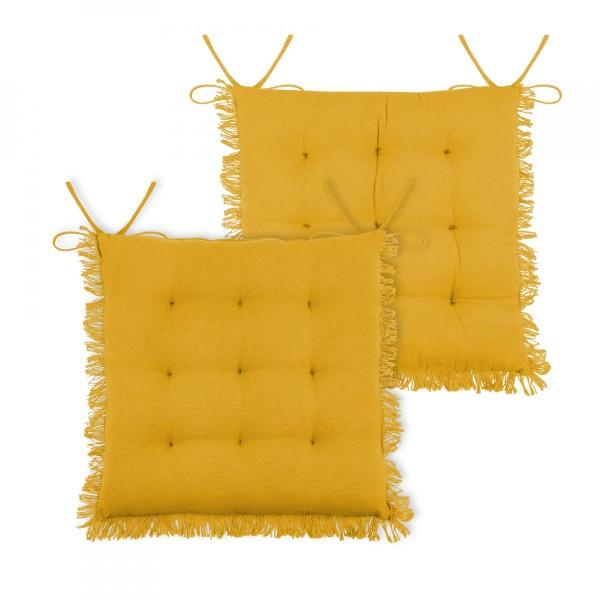 Cuscini Gialli.Cuscino Per Sedia Prague Giallo Mostarda Tessuto Decorativo Eminza