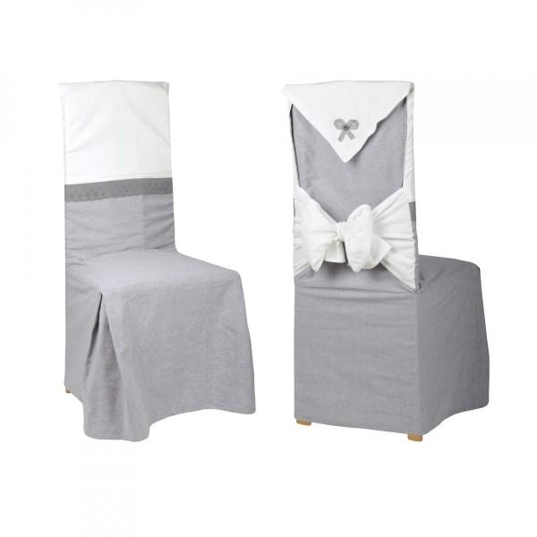 housse de chaise charmelia grise d co textile eminza. Black Bedroom Furniture Sets. Home Design Ideas