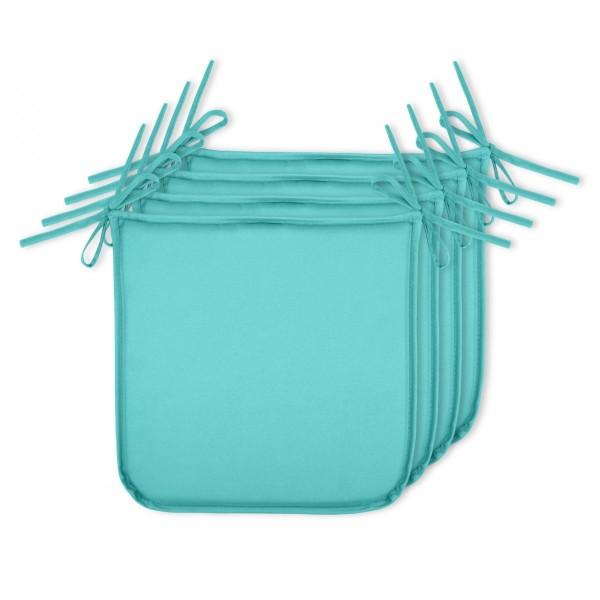 Lot De 4 Galettes Chaise Farniente Bleu Turquoise Lagon