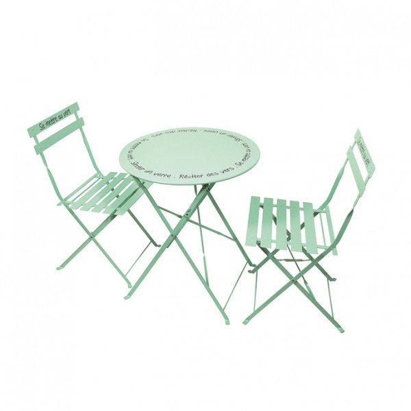 Table de jardin pliante ronde m tal avec chaises pliantes vert d 39 eau salon de jardin table - Table et chaise de jardin castorama ...