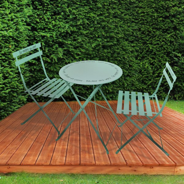 Table de jardin pliante ronde métal avec chaises pliantes - Vert d\'eau