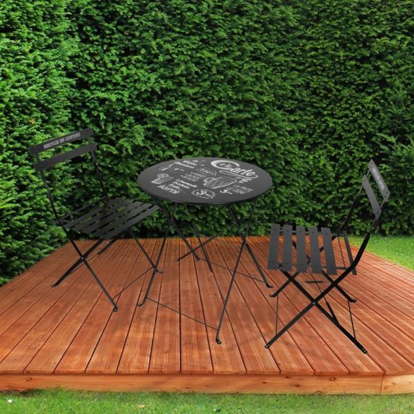 Table de jardin pliante ronde métal avec chaises pliantes - Noir