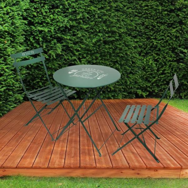 Table de jardin pliante ronde métal avec chaises pliantes - Vert