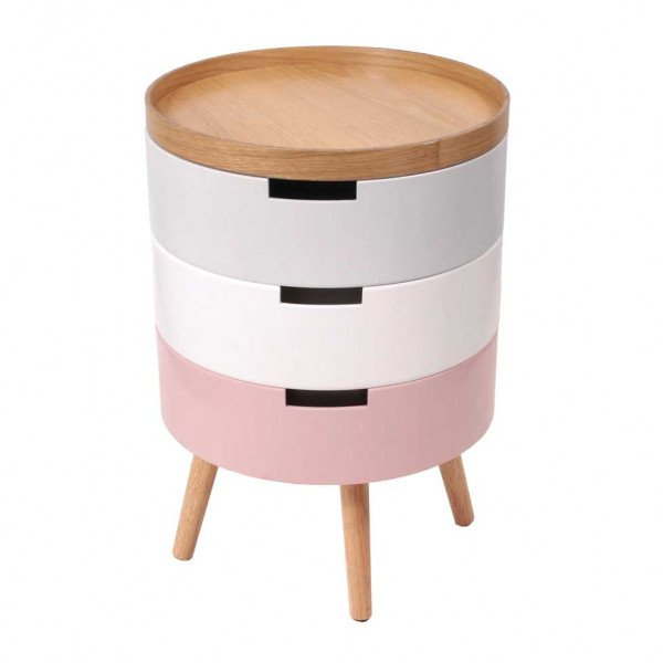 Table de chevet Coffre Rose