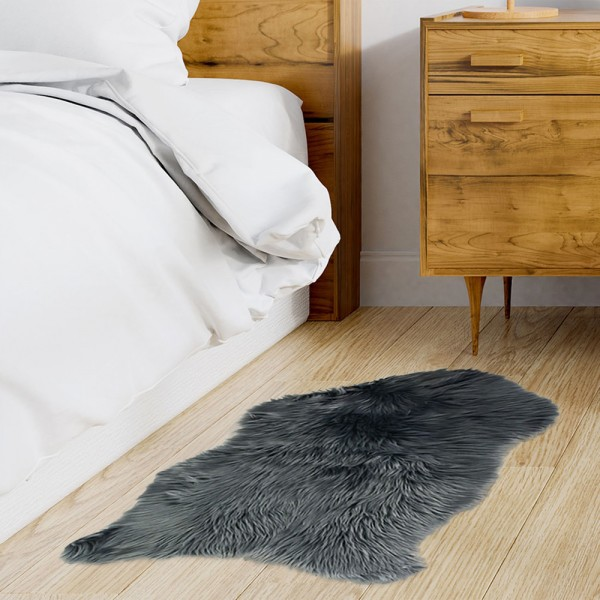 tapis imitation fourrure 90 cm yeta gris fonc tapis. Black Bedroom Furniture Sets. Home Design Ideas
