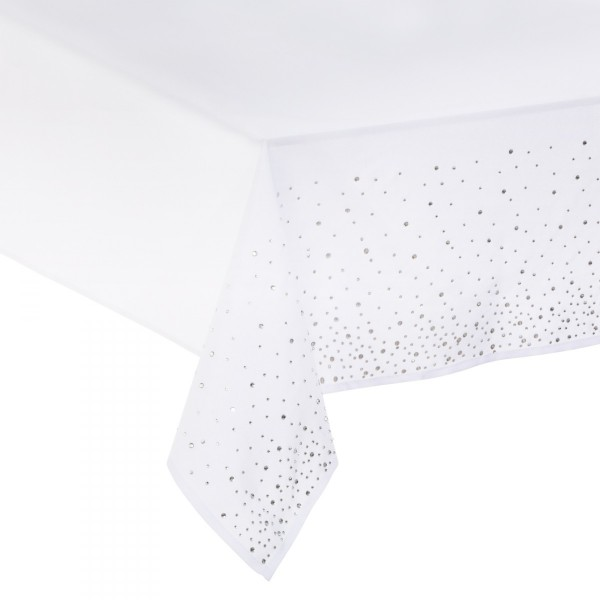 Nappe rectangulaire (L360 cm) Strass Blanc