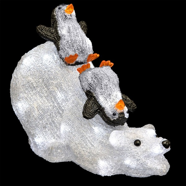 Ours Lumineux Noel Ours lumineux et les pingouins Blanc froid 80 LED   Décoration