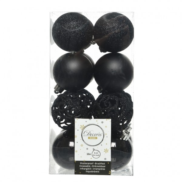 Lot de 16 boules de Noël (D60 mm) Alpine multi Noir